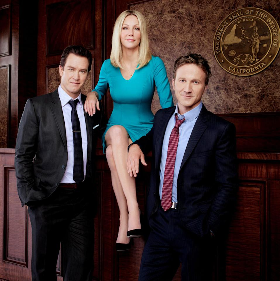 "Mark-Paul Gosselaar, Heather Locklear, and Breckin Meyer in Season 3 of TNT's ""Franklin & Bash."""
