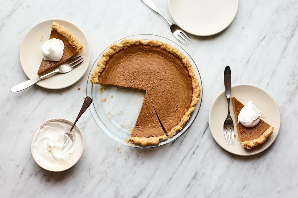 """Maybe you could skip all the other Canadian Thanksgiving recipes and just focus on dessert. We don't blame you, especially when you're talking about this pumpkin pie from Claire Saffitz, enhanced with browned butter and honey that's been cooked slightly to intensify its flavor. Pie doesn't get better than this. <a href=""""https://www.epicurious.com/recipes/food/views/caramelized-honey-pumpkin-pie?mbid=synd_yahoo_rss"""" rel=""""nofollow noopener"""" target=""""_blank"""" data-ylk=""""slk:See recipe."""" class=""""link rapid-noclick-resp"""">See recipe.</a>"""