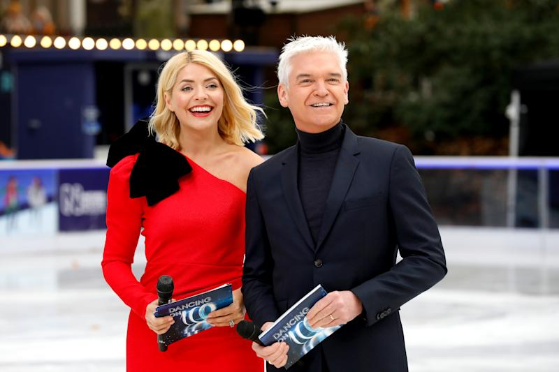 Holly Willoughby (left) and Phillip Schofield during the press launch for the upcoming series of Dancing On Ice at the Natural History Museum Ice Rink in London. Picture date: Tuesday December 18, 2018. Photo credit should read: David Parry/PA Wire