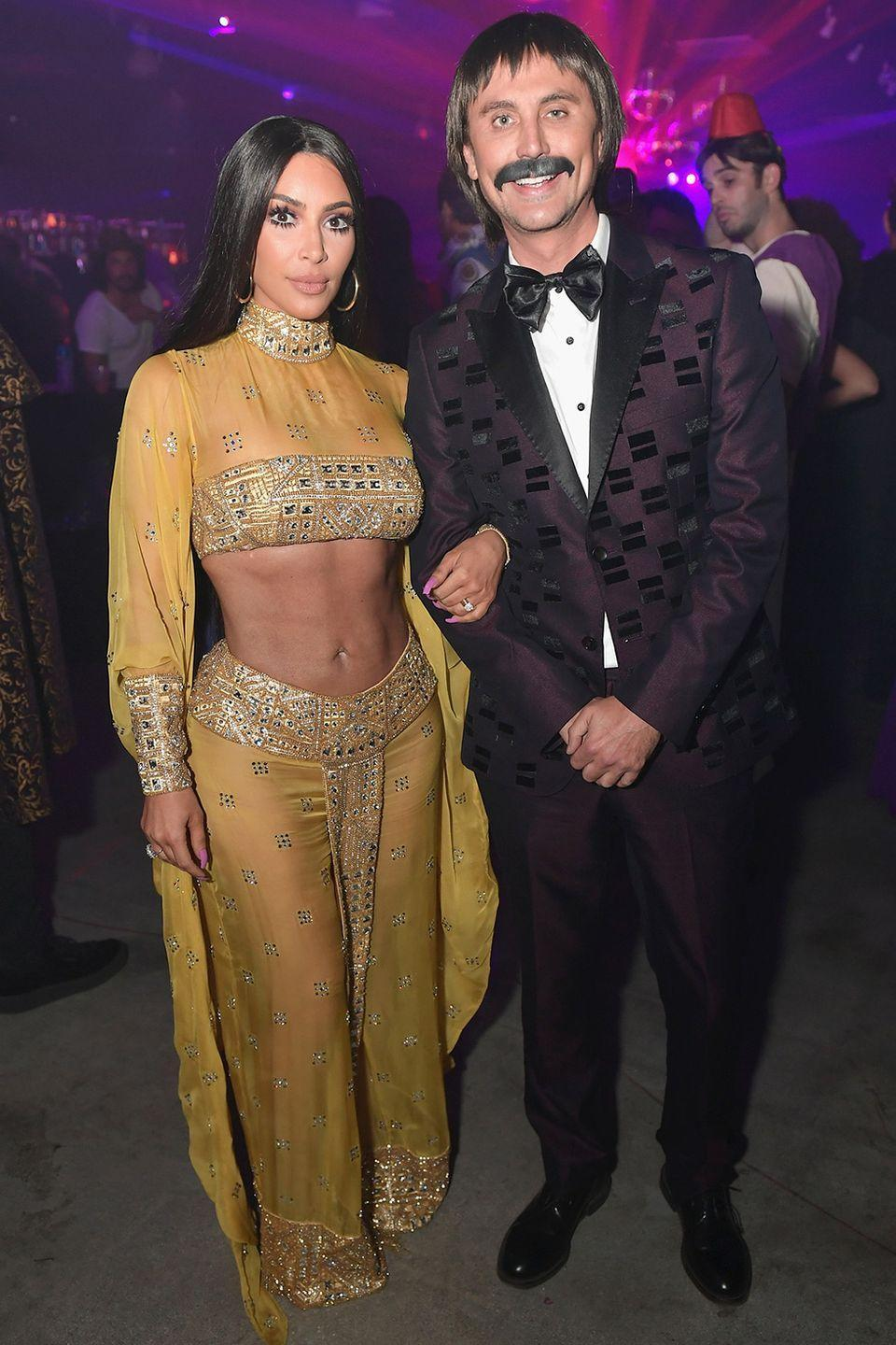 <p>Kim Kardashian and bestie Jonathan Cheban dressed up as Sunny and Cher in 2017 for the Casamigos Halloween party.</p>