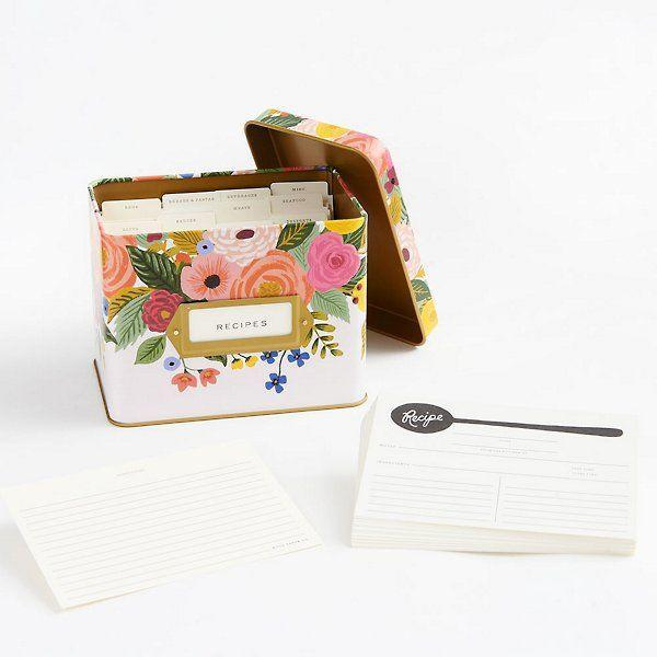 """<p><strong>Rifle Paper Co.</strong></p><p>papersource.com</p><p><strong>$34.95</strong></p><p><a href=""""https://www.papersource.com/gifts/juliet-rose-recipe-tin-10007293.html"""" rel=""""nofollow noopener"""" target=""""_blank"""" data-ylk=""""slk:Shop Now"""" class=""""link rapid-noclick-resp"""">Shop Now</a></p><p>Bright and beautiful, this rose-covered recipe tin is the perfect present for that family member in charge (read: monopolizing) of all the secret family recipes. Plus, it's a master at double duty: pretty enough to score a spot on the kitchen counter, but also perfectly compact to be tucked into a cabinet if space is tight.</p>"""