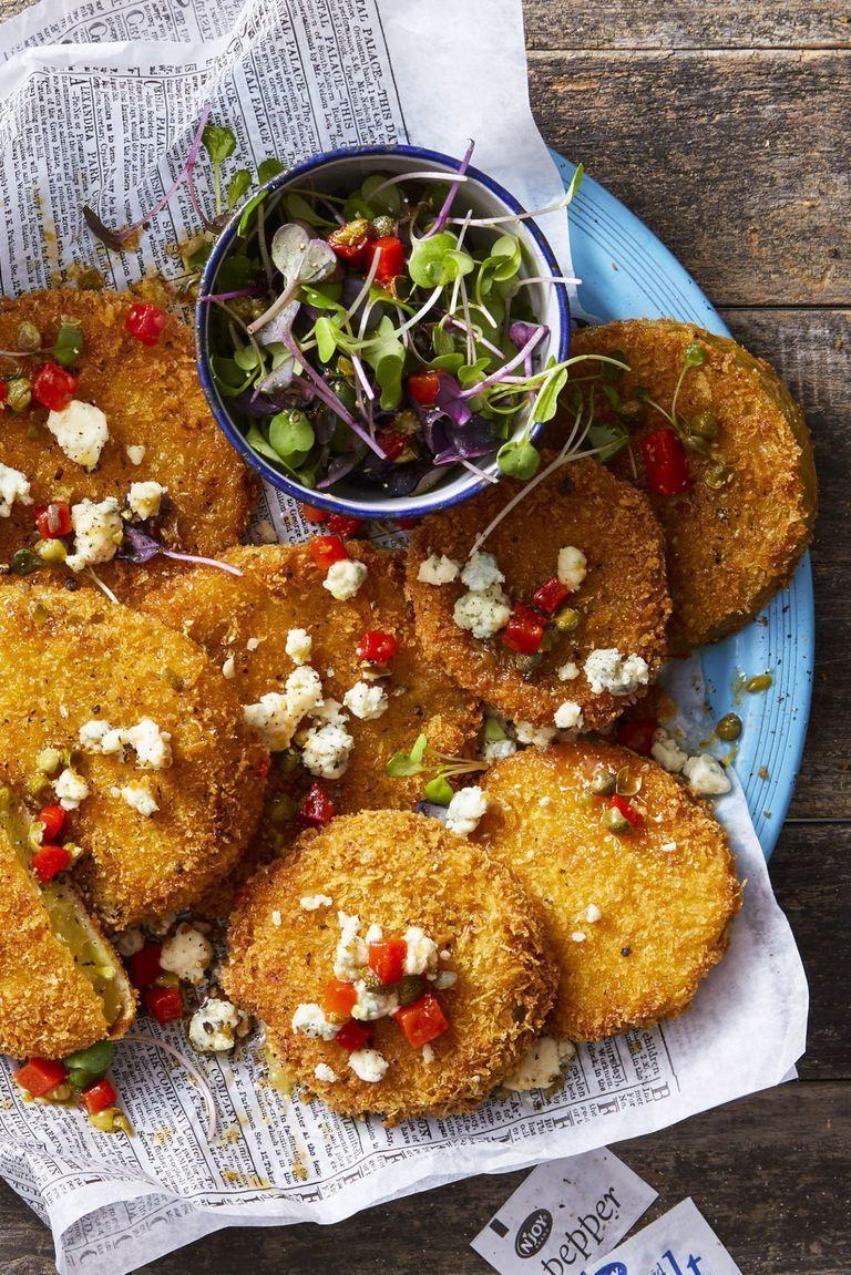 """<p>These crunchy panko-crusted tomatoes are a savory Southern favorite — but you can enjoy them wherever you live.</p><p><em><a href=""""https://www.goodhousekeeping.com/food-recipes/a44677/fried-green-tomatoes-recipe/"""" rel=""""nofollow noopener"""" target=""""_blank"""" data-ylk=""""slk:Get the recipe for Fried Green Tomatoes »"""" class=""""link rapid-noclick-resp"""">Get the recipe for Fried Green Tomatoes »</a></em></p>"""