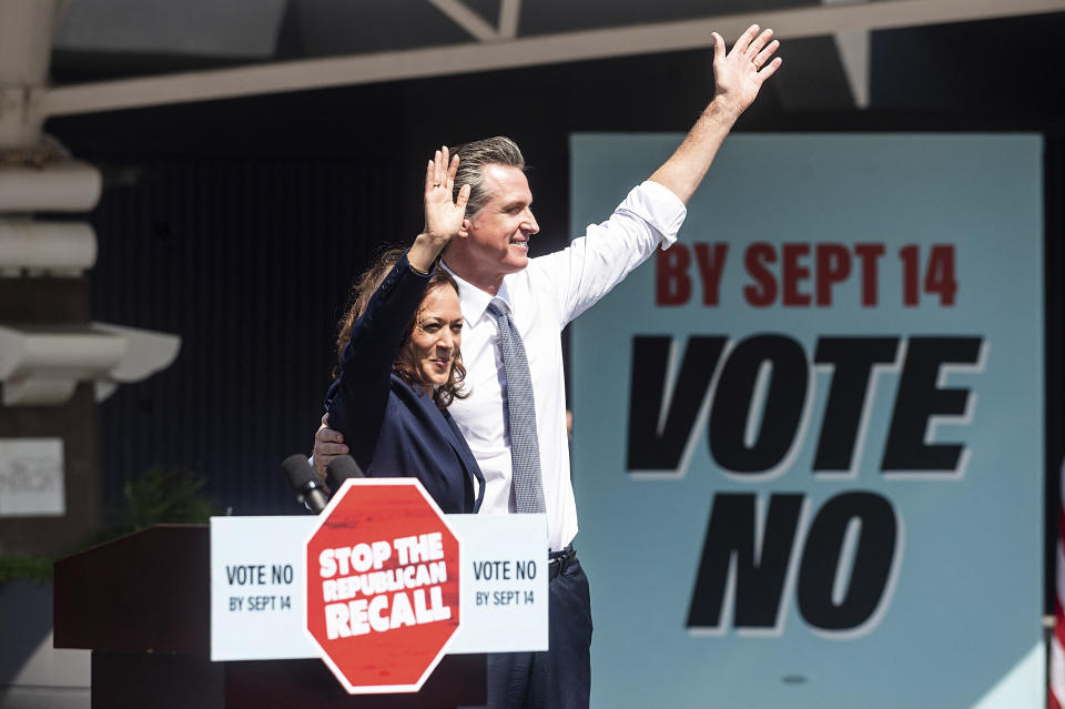 Vice President Kamala Harris joins California Gov. Gavin Newsom at a rally against the California gubernatorial recall election on Wednesday, Sept. 8, 2021, in San Leandro, Calif. Harris highlighted new abortion restrictions in Texas t offer a contrast between Republican leadership and the Democrat Newsom's approach to reproductive rights. Democrats are working to motivate voters in their party to turn in their ballots. (AP Photo/Noah Berger)