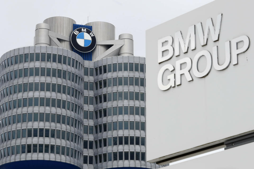 FILE - In this March 21, 2018 file picture the logo of German car manufacturer BMW is photographed at the headquarters in Munich, Germany. German automaker BMW said third-quarter net profit rose 17% to 1.81 billion euros ($2.22 billion) as regional auto markets recovered and highly profitable luxury models such as the 8 Series coupe and X7 large sport-utility vehicle helped fatten the bottom line. (AP Photo/Matthias Schrader, File)