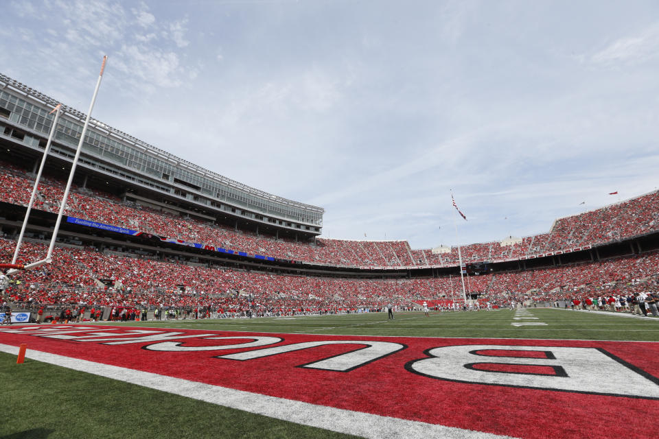Ohio Stadium is seen during an NCAA football game against Florida Atlantic on Saturday, Aug. 31, 2019 in Columbus, Ohio. (AP Photo/Paul Vernon)