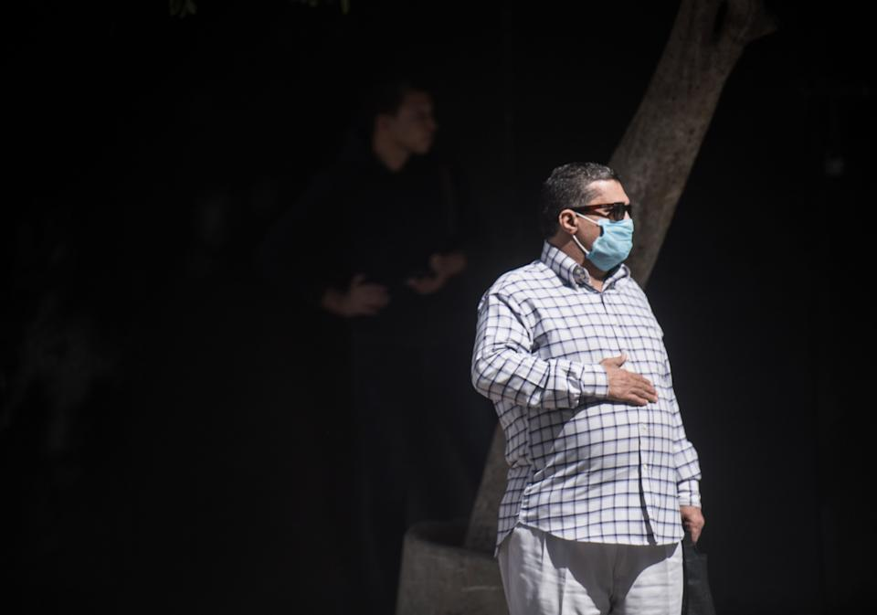CAIRO, April 19, 2020 .A man wearing a face mask is seen on a street in Cairo, Egypt, on April 19, 2020. Egypt has so far confirmed 3,032 COVID-19 cases, including 224 deaths and 701 recoveries. (Photo by Wu Huiwo/Xinhua via Getty) (Xinhua/Wu Huiwo via Getty Images)