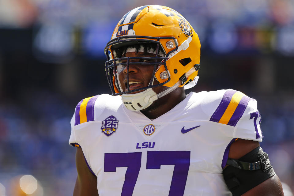 LSU offensive lineman Saahdiq Charles has been dinged by NFL scouts for major character concerns. (Photo by David Rosenblum/Icon Sportswire via Getty Images)