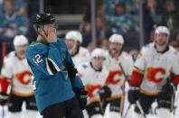 San Jose Sharks' Kevin Lebanc (62) reacts as he skates back to the bench as the Calgary Flames take a 3-1 lead in the first period of an NHL hockey game in San Jose, Calif., Sunday, March 31, 2019. (AP Photo/Josie Lepe)
