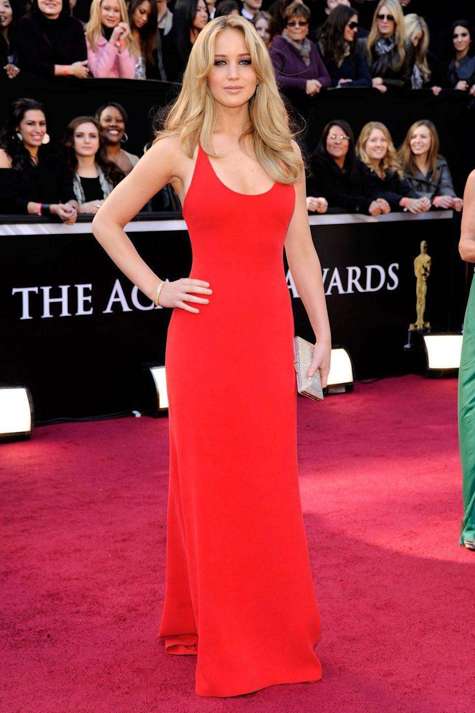 <p>Nominated for Best Actress for her role in <em>Winter's Bone</em>, the then-newcomer Jennifer Lawrence looked like a seasoned pro in her sizzling Calvin Klein Collection column.</p>