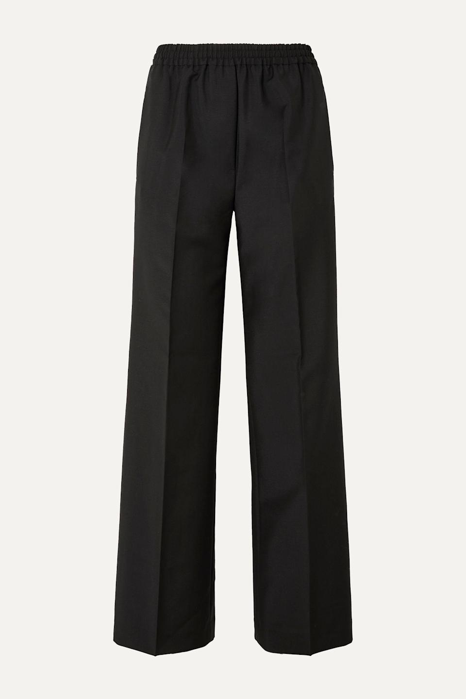 """<p><strong>Acne Studios</strong></p><p>net-a-porter.com</p><p><strong>$245.00</strong></p><p><a href=""""https://go.redirectingat.com?id=74968X1596630&url=https%3A%2F%2Fwww.net-a-porter.com%2Fen-us%2Fshop%2Fproduct%2Facne-studios%2Fpammy-wool-and-mohair-blend-wide-leg-pants%2F1161831&sref=https%3A%2F%2Fwww.harpersbazaar.com%2Ffashion%2Fstreet-style%2Fg7872%2Ffall-autumn-outfits%2F"""" rel=""""nofollow noopener"""" target=""""_blank"""" data-ylk=""""slk:Shop Now"""" class=""""link rapid-noclick-resp"""">Shop Now</a></p><p>There's never a shortage of black trousers to own; they always come in handy. Made from a luxe blend of wool and mohair, Acne's iteration are both casual and elegant with its pressed creases and elastic waistband. </p>"""