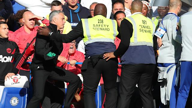 Jose Mourinho was involved in ugly scenes after Chelsea denied his Manchester United side a victory at Stamford Bridge.