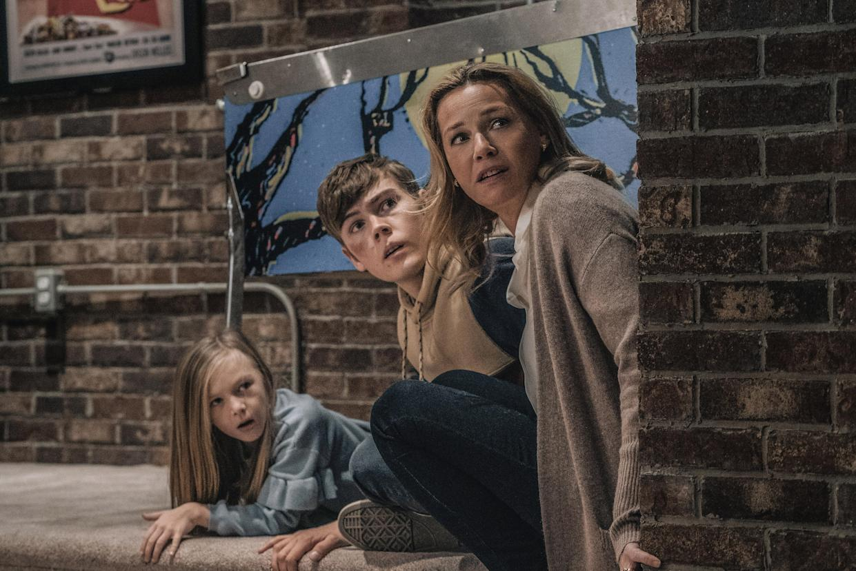 (from left) Sammy Mansell (Paisley Cadorath), Brady Mansell (Gage Munroe) and Becca Mansell (Connie Nielsen) in Nobody, directed by Ilya Naishuller. (Universal Pictures)