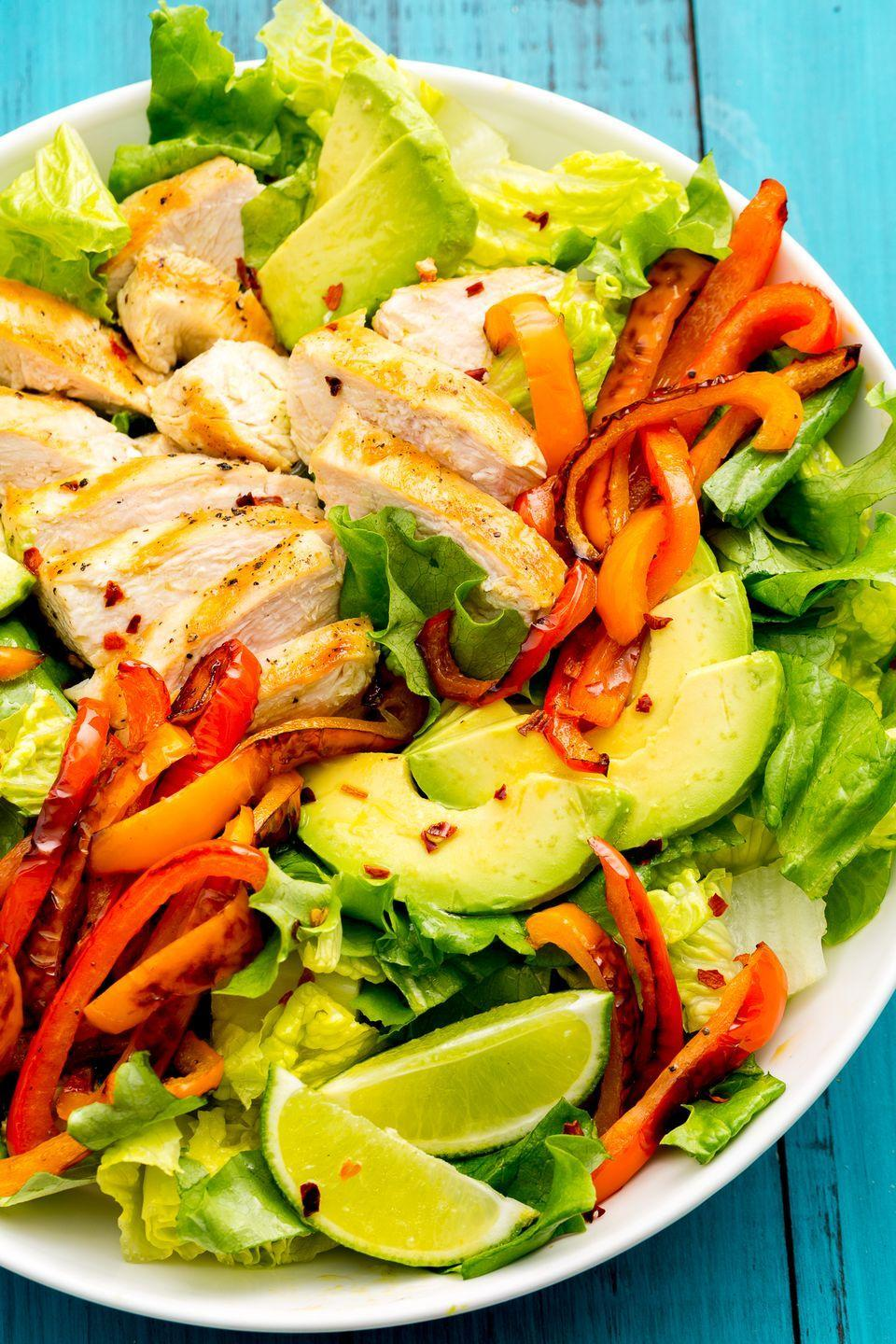"""<p>All the Tex-Mex flavors you love in one good-for-you salad.</p><p>Get the recipe from <a href=""""https://www.delish.com/cooking/recipe-ideas/recipes/a47332/fajita-chicken-salad-recipe/"""" rel=""""nofollow noopener"""" target=""""_blank"""" data-ylk=""""slk:Delish"""" class=""""link rapid-noclick-resp"""">Delish</a>.</p>"""