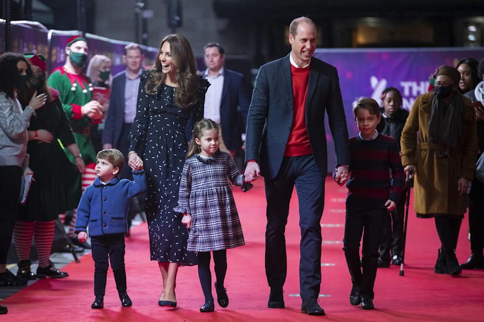 The Duke and Duchess of Cambridge and their children, Prince Louis, Princess Charlotte and Prince George attend a special pantomime performance at London's Palladium Theatre, hosted by The National Lottery, to thank key workers and their families for their efforts throughout the pandemic.