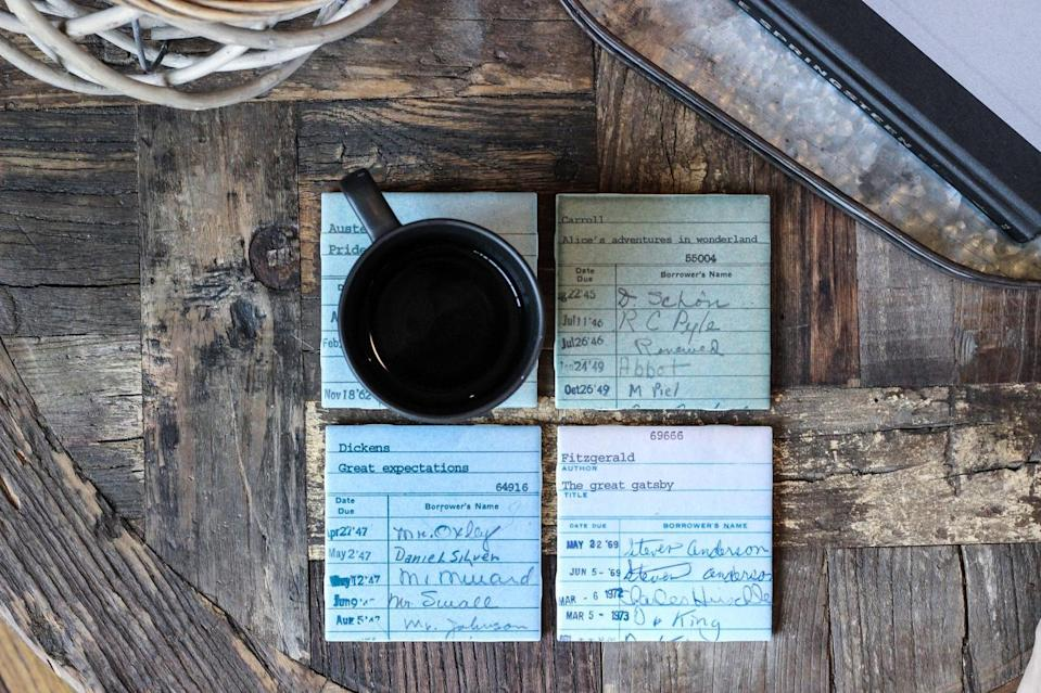<p>These <span>Library Card Coasters</span> ($30) are perfect for bookworms.</p>