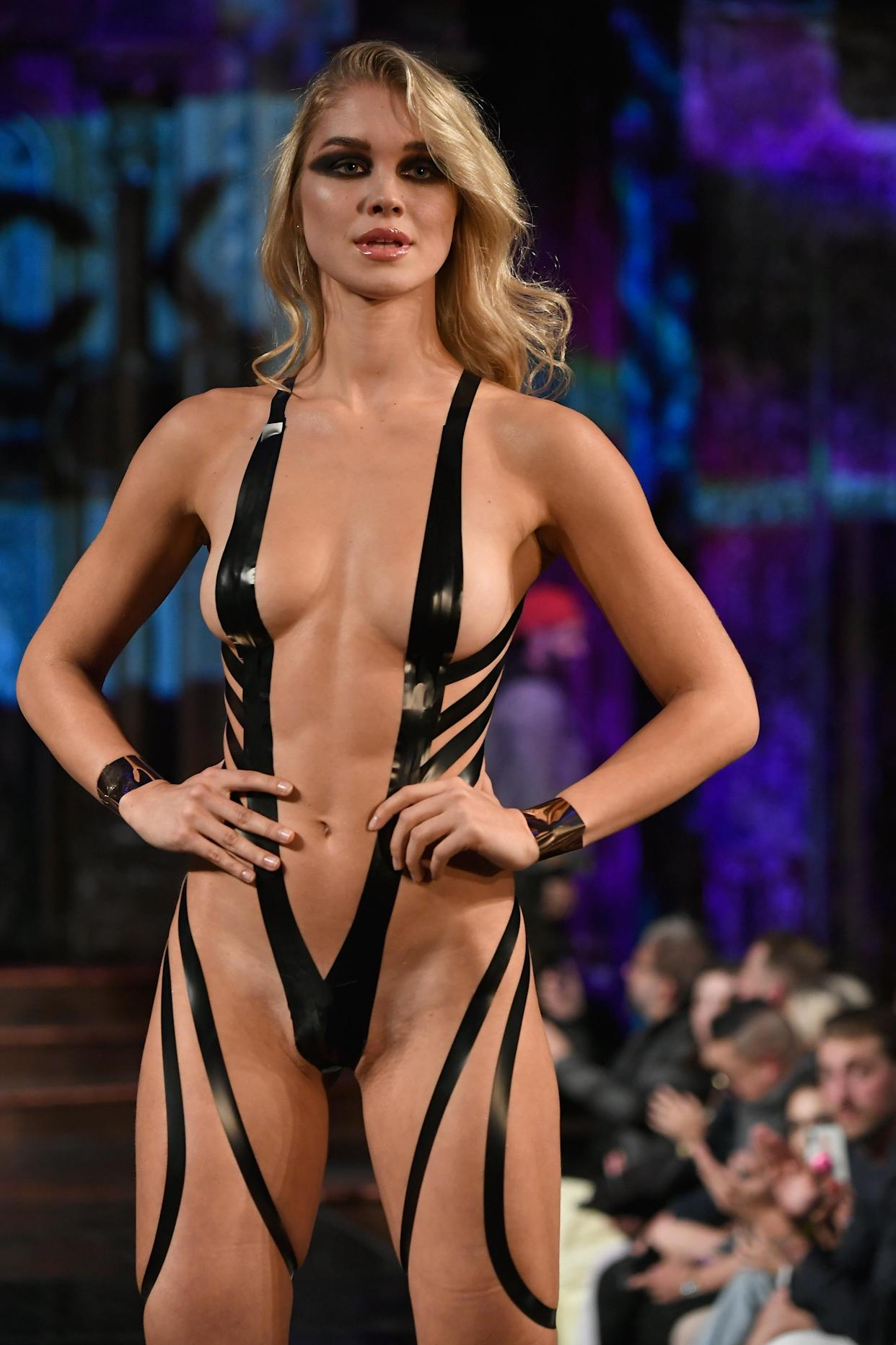 A model walks the runway during the&nbsp; <span>Black Tape Project</span> show at New York Fashion Week. [Photo: Getty]