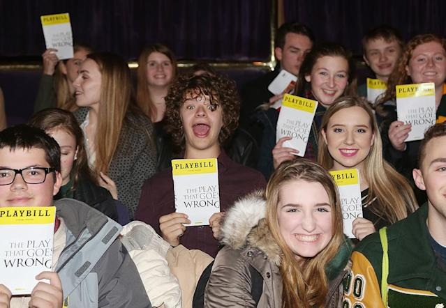 <p>The <em>Stranger Things</em> star hit the Great White Way on Wednesday with his high school drama class. The students posed for a photo in the audience of the the hit show <em>The Play That Goes Wrong </em>on Broadway at The Lyceum Theatre. (Photo: Bruce Glikas/Bruce Glikas/FilmMagic) </p>