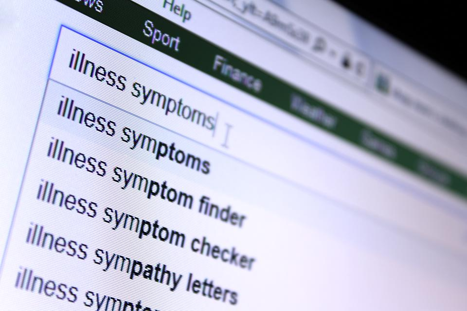 Screengrab of the words 'illness symptoms' being typed into a search engine to demonstrate looking online for self diagnosis of symptoms