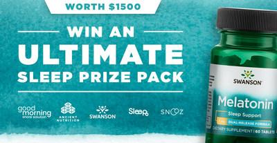 Win an ultimate sleep prize pack worth $1500 from Swanson Health, Sleep6, Good Morning Snore Solution, SNOOZ, and Ancient Nutrition.