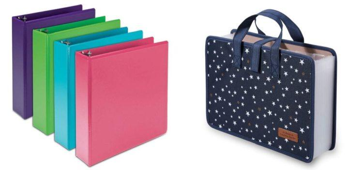 Four colorful binders on the left, collapsed expandable file folder with handles on the right