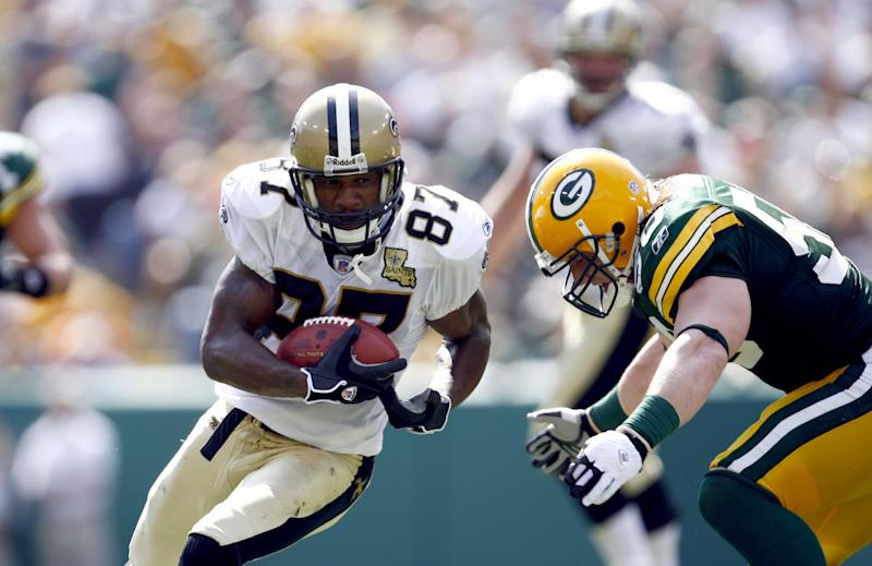 GREEN BAY, WI - SEPTEMBER 17: Wide Receiver Joe Horn #87 of the New Orleans Saints runs with the ball against the Green Bay Packers on September 17, 2006 at Lambeau Field in Green Bay, Wisconsin. The Saints defeated the Packers 34-27. (Photo by Rob Tringali/Sportschrome/Getty Images)