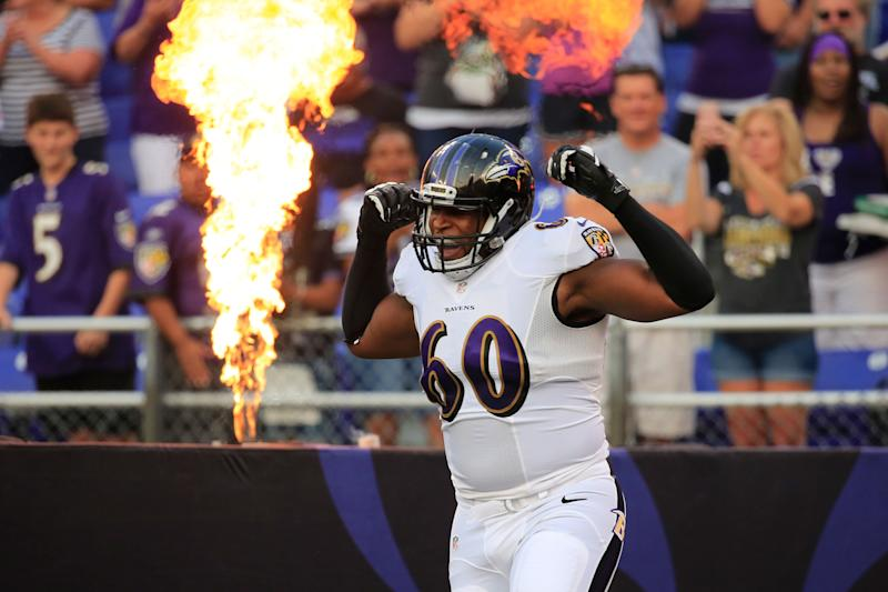 Eugene Monroe during the first half of an NFL pre-season game at M&T Bank Stadium on August 7, 2014 in Baltimore, Maryland.