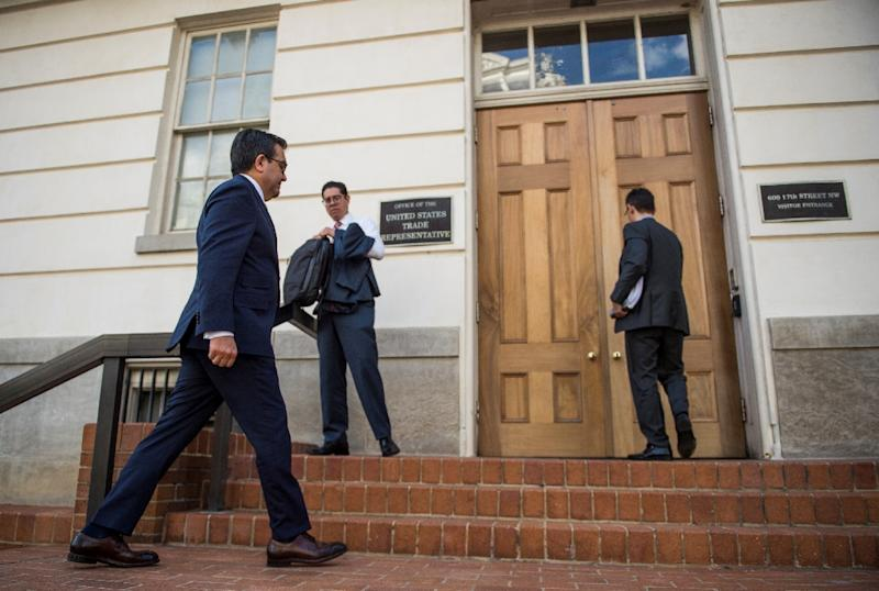 Mexico's Secretary of Economy Ildefonso Guajardo enters the Office of the US Trade Representative during a day of meetings on the NAFTA treaty in Washington