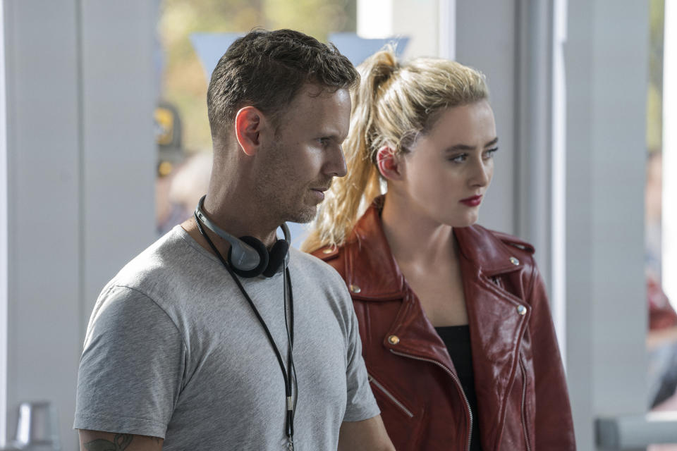 (from left) Co-writer/director Christopher Landon and Kathryn Newton on the set of Freaky.