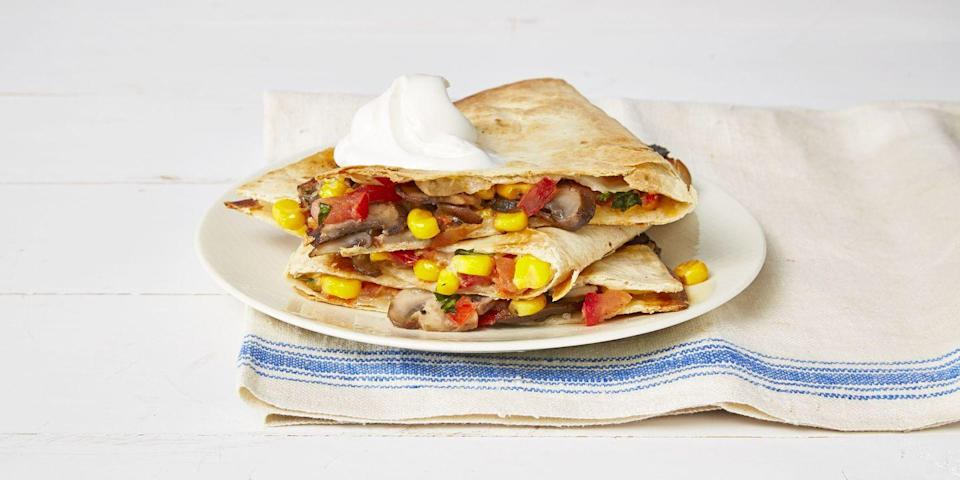 "<p>Make these cheesy quesadillas for Meatless Monday ... or any other night of the week.</p><p><em><a href=""https://www.goodhousekeeping.com/food-recipes/a37298/mushroom-quesadillas-recipe"" rel=""nofollow noopener"" target=""_blank"" data-ylk=""slk:Get the recipe for Mushroom Quesadillas »"" class=""link rapid-noclick-resp"">Get the recipe for Mushroom Quesadillas »</a></em></p>"