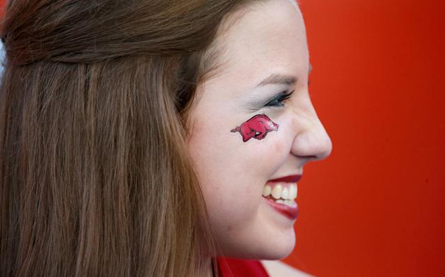 GAINESVILLE, FL - OCTOBER 05: An Arkansas Razorbacks cheerleader smiles before the game against the Florida Gators at Ben Hill Griffin Stadium on October 5, 2013 in Gainesville, Florida. (Photo by Sam Greenwood/Getty Images)