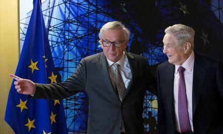 Jean Claude Juncker meets US financier George Soros as part of consultations on a new Hungarian law that has threatened to force the closure of a university he funds prior to a meeting in Brussels