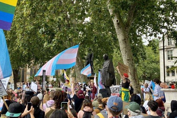 People gave speeches in Parliament Square at the trans rights protest (Liam Beattie)