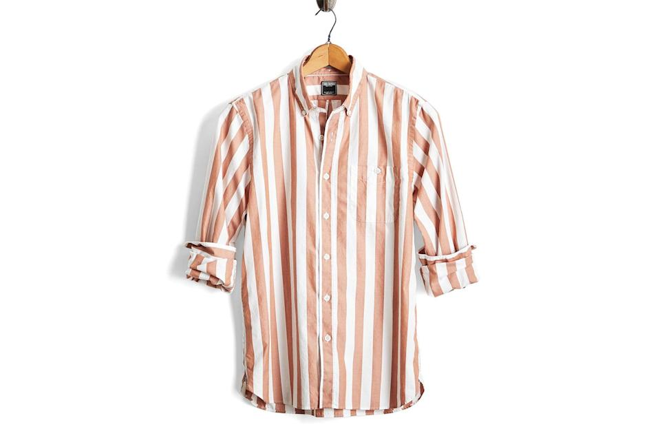"$168, Todd Snyder. <a href=""https://www.toddsnyder.com/collections/sale/products/stripe-oxford-camel"" rel=""nofollow noopener"" target=""_blank"" data-ylk=""slk:Get it now!"" class=""link rapid-noclick-resp"">Get it now!</a>"