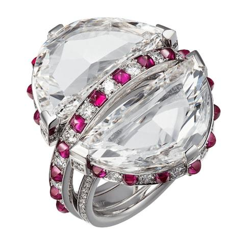 Cartier Orbite ring in white gold with diamonds and rubies