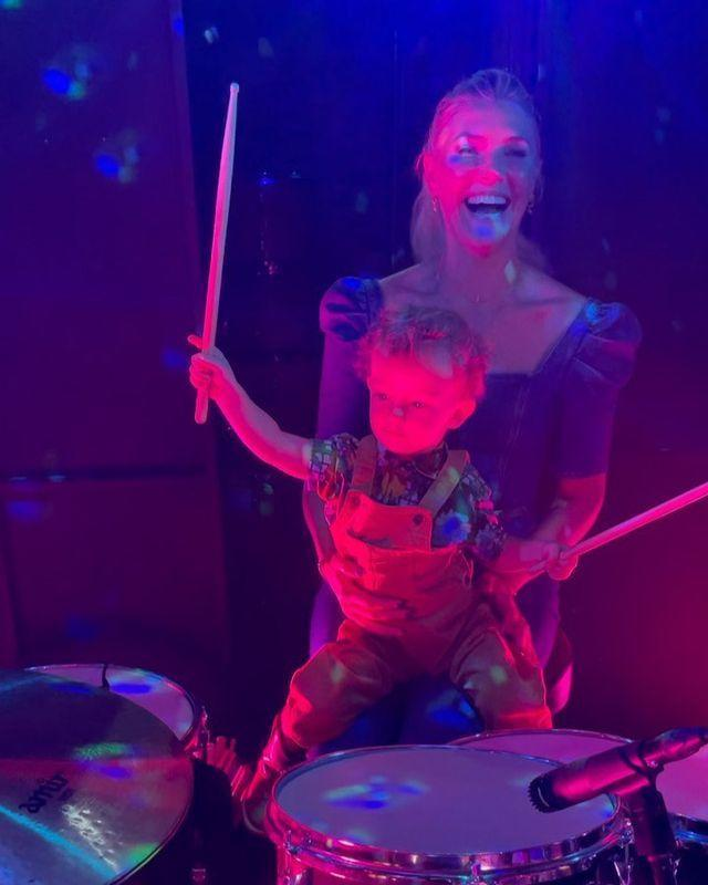 <p>The 2-year-old has taken to the drumset with ease - and Mom couldn't be more proud.</p>