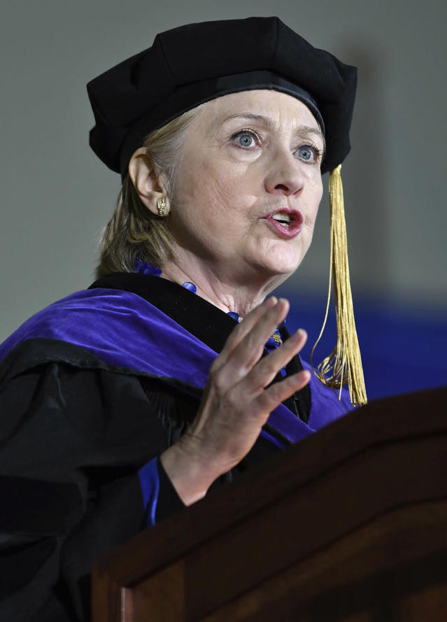 <p>Former Secretary of State Hillary Clinton delivers the commencement address at Wellesley College, May 26, 2017, in Wellesley, Mass. Clinton graduated from the school in 1969. (Photo: Josh Reynolds/AP) </p>