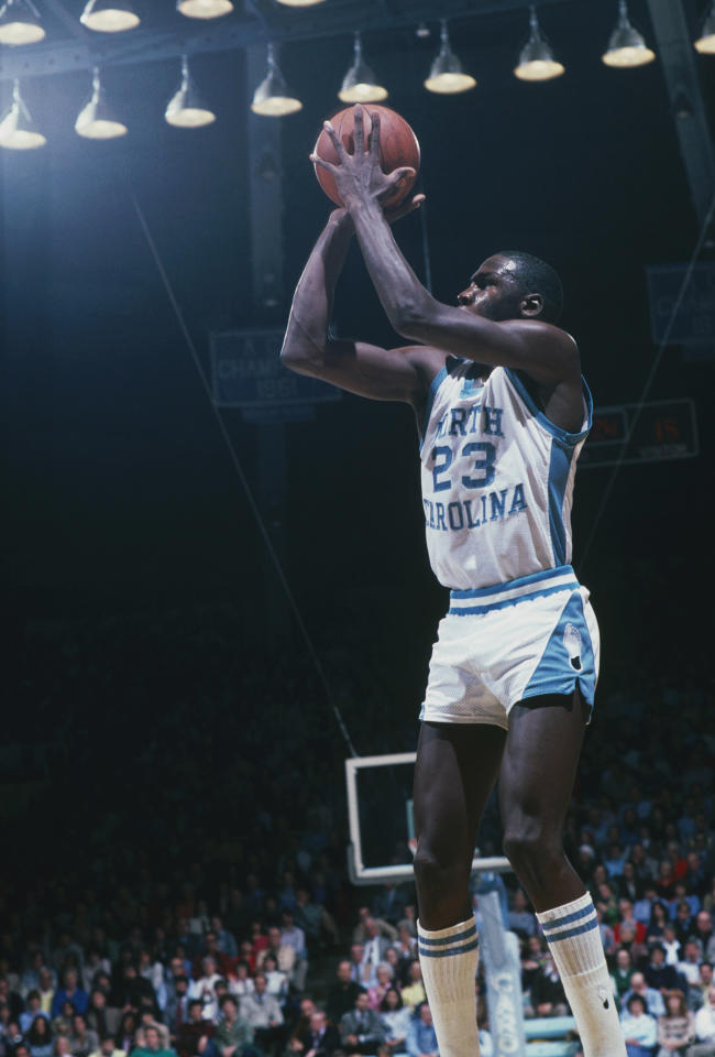 Michael Jordan first gained fame as freshman at the University of North Carolina when he sank the game-winning jumper in the 1982 NCAA title game that gave the Tar Heels a one-point win over Georgetown. (Getty Images)