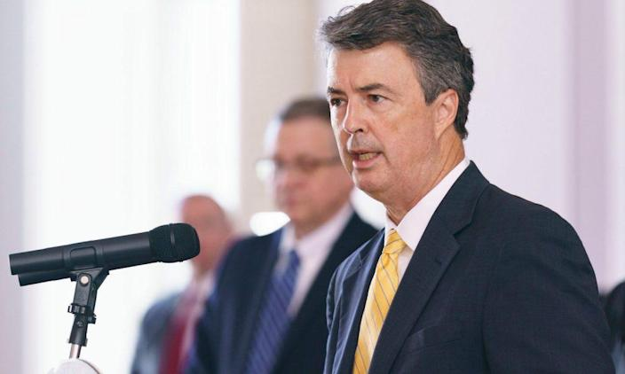 Alabama Attorney General Steve Marshall speaking a COVID-19 press conference. (VIA GOVERNOR'S OFFICE/HAL YEAGER)