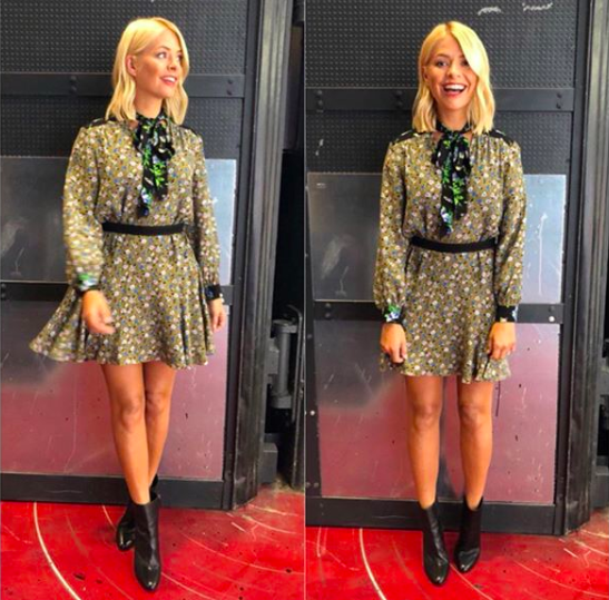 <p>If you're looking for inspiration on how to wear autumn florals, consider Holly Willoughby's Instagram page your mood board. On September 3, the television presenter opted for a Sandro Paris dress finished with stompy LK Bennett boots. <em>[Photo: Instagram]</em> </p>