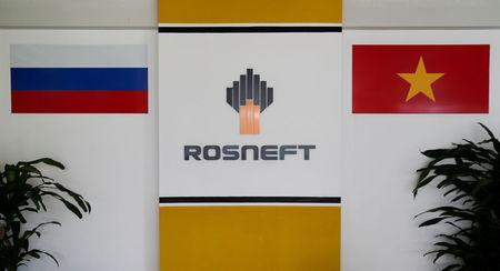 FILE PHOTO: The logo of Russia's oil company Rosneft is pictured at the Rosneft Vietnam office in Ho Chi Minh City