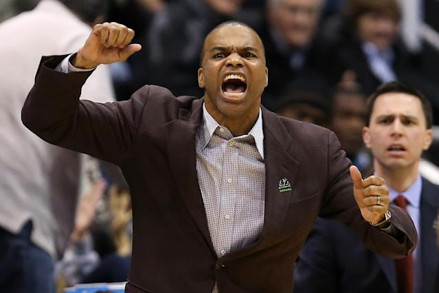 Head coach Tommy Amaker of the Harvard Crimson reacts in the second half while taking on the New Mexico Lobos during the second round of the 2013 NCAA Men's Basketball Tournament at EnergySolutions Arena on March 21, 2013 in Salt Lake City, Utah. (Photo by Streeter Lecka/Getty Images)