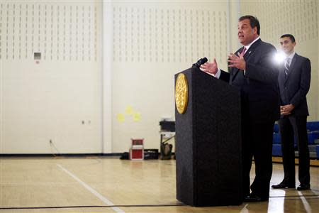 New Jersey Governor Chris Christie makes an education announcement involving a new after-school dinner program for students in need at Dudley Family School in Camden, New Jersey January 23, 2014. REUTERS/Mark Makela