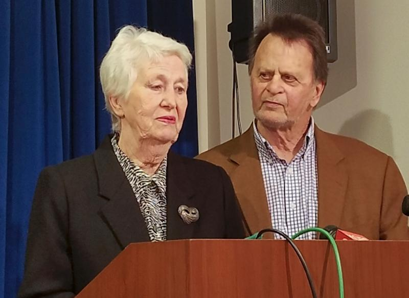 Retiree Edwin Hardeman addresses a news conference in San Francisco with his wife Mary, after Monsanto is ordered to pay him more than $80 mn (AFP Photo/Julie CHARPENTRAT)
