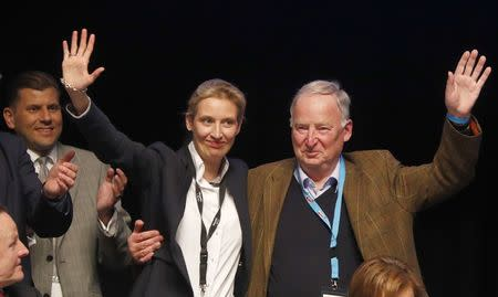 Top candidates for the German elections Alice Weidel and Alexander Gauland of Germany's anti-immigration party Alternative for Germany (AFD) during an AFD party congress in Cologne Germany, April 23, 2017. REUTERS/Wolfgang Rattay