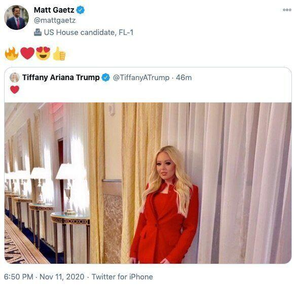 Matt Gaetz's tweet response on Tiffany Trump's photo. (Photo: )