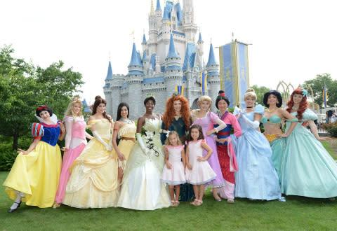 Rosie McClelland (front left) and Sophia Grace Brownlee (front right), TV personalities from