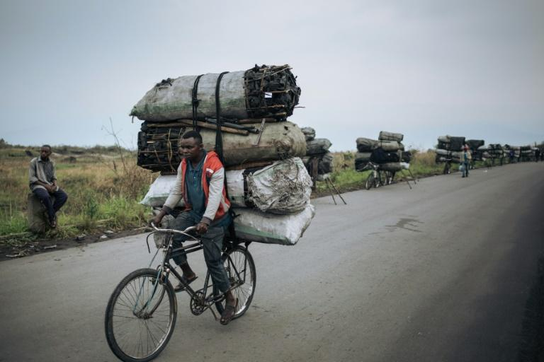Many people in impoverished DR Congo rely on charcoal as their main fuel, which comes as a steep price for the environment (AFP Photo/ALEXIS HUGUET)