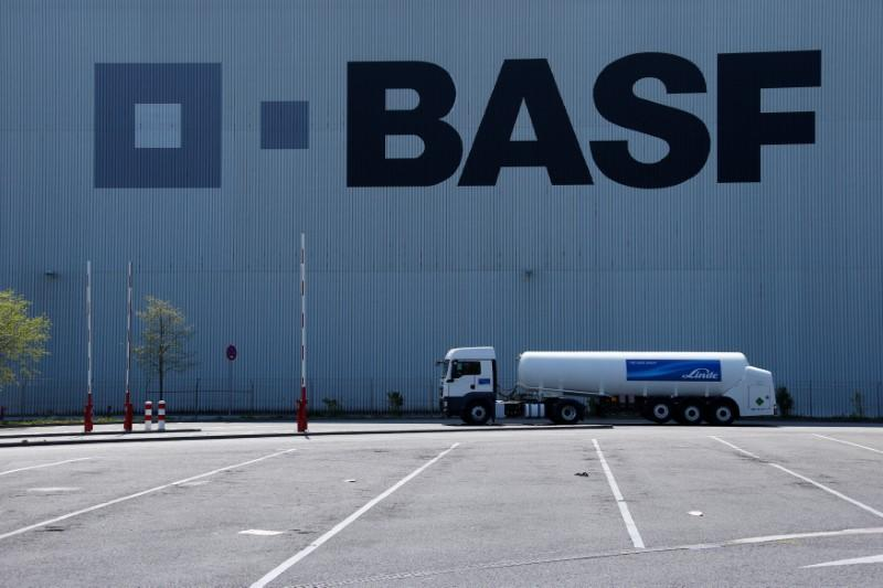 FILE PHOTO: A truck drives past a warehouse of German chemical company BASF in Ludwigshafen