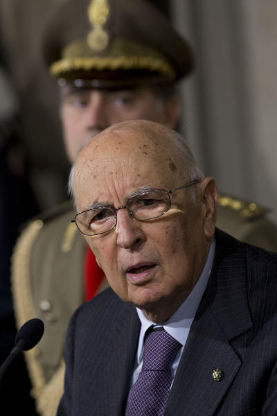 Italian President Giorgio Napolitano answers to journalists questions on the formation of a new government, in Rome's Quirinale presidential palace, Thursday, March 21, 2013. Fresh elections could soon be called if President Napolitano, after consultations on Wednesday and Thursday, decides no one can muster a reliable enough majority in Parliament to enact the economic and electoral reforms needed to pull Italy out of recession and improve future prospects for stable governments. (AP Photo/Andrew Medichini)
