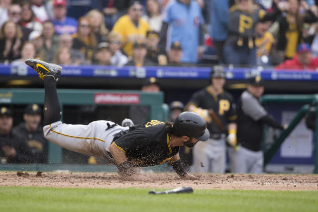 Sean Rodriguez scoring one of just five runs the Pirates would score over four games. (Getty Images)